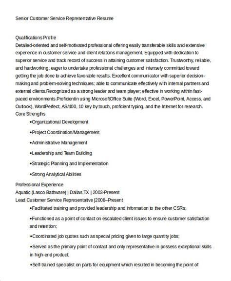 Exle Of Customer Service Resume by Customer Service Representative Resume 9 Free Sle