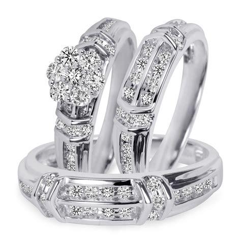 1 1 1 10 carat t w diamond trio matching wedding ring set 14k white gold bt503w14k jpg