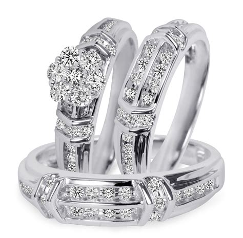 1 1/10 Carat T.W. Diamond Trio Matching Wedding Ring Set 14K White Gold   My Trio Rings   BT503W14K