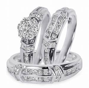 1 1 1 10 carat tw diamond trio matching wedding ring set With engagement and wedding ring sets in white gold
