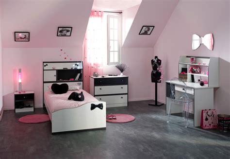 ensemble chambre fille lit valentina blanc noir