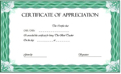 teacher appreciation certificate  printable  designs