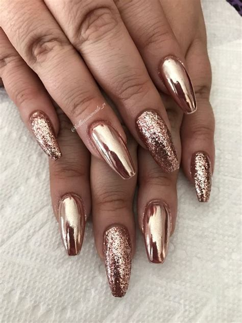 rose gold  bellissimanailsri rose gold nails glitter