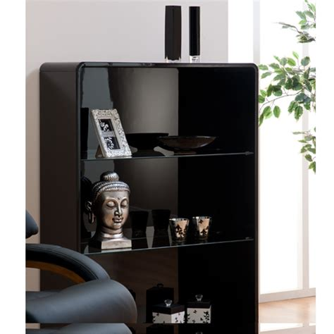 Black High Gloss Bookcase by Toscana Bookcase In Black High Gloss With 3 Compartments