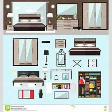 Bedroom Interior In Flat Style Vector Illustration House