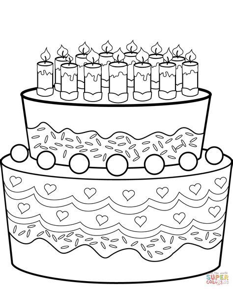 Verjaardagstaart Kleurplaat Printen by Kleurplaten Verjaardagstaart