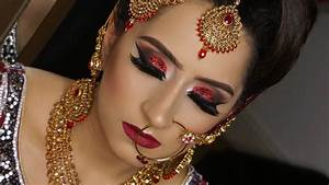 Real Bride Modern Traditional Asian Bridal Makeup Red Glittery Smokey Eyes YouTube