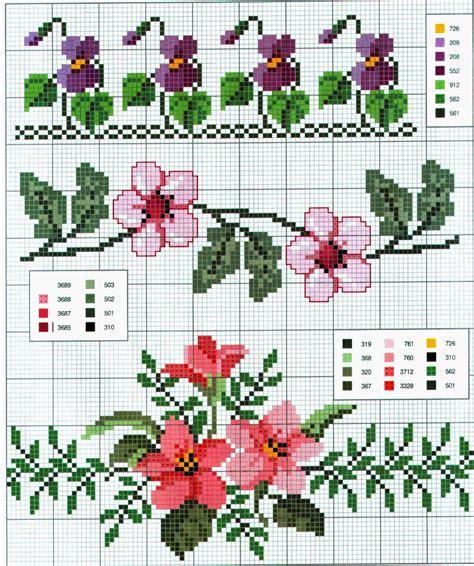 schemi punto croce fiori schemi a punto croce cornici e bordi con fiori colorati