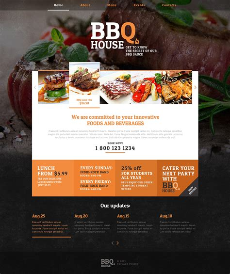 cuisine site bbq restaurant responsive website template 46913