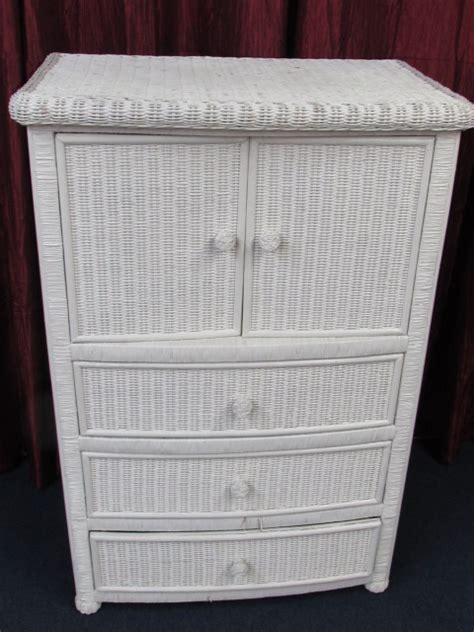 lot detail white wicker armoire    tall