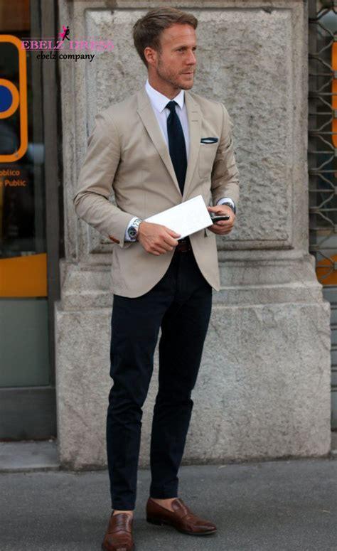 New Khaki Casual Short Men Suit Tuxedos Elegant