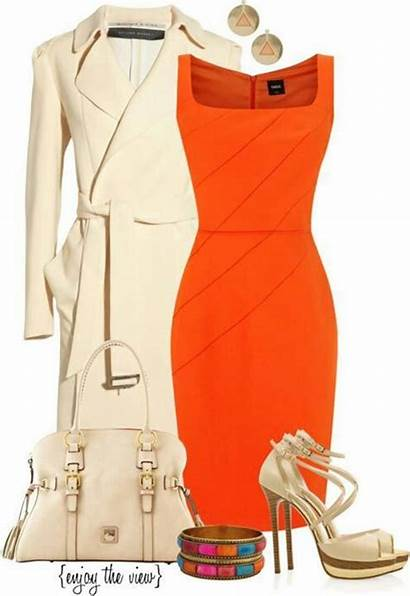Outfits Polyvore Orange Outfit Dresses Fall Evening