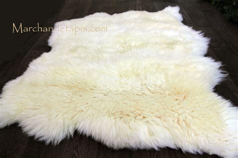 tapis peau de mouton  peaux blanc naturel origine uk