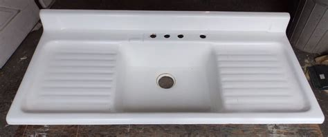 white kitchen sink with drainboard vintage cast iron white porcelain drainboard 1826