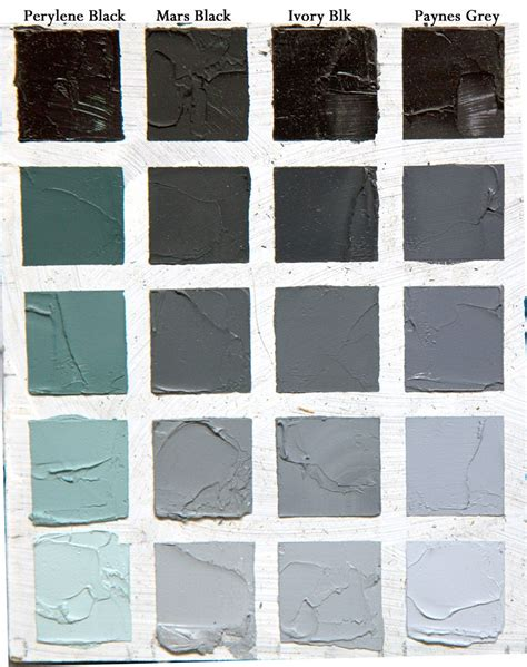 understanding black colours this chart takes each and mixes them with white acrylic