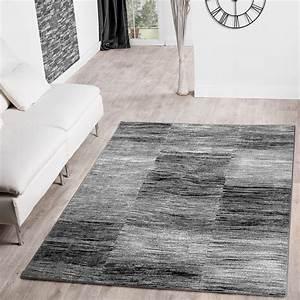 Moderner Wohnzimmer Teppich Grau Schwarz Anthrazit Meliert