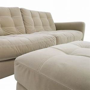 80 off natuzzi natuzzi beige microfiber tufted couch for Barcelona sectional sofa ottoman in beige