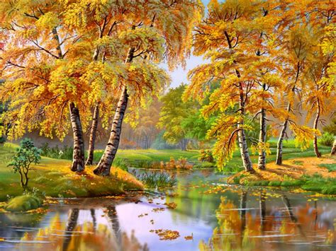 wonderful autumn landscape river trees