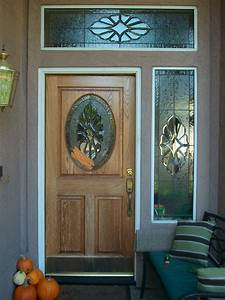 Exterior Wooden Door With Stained Glass Panels For Small ...