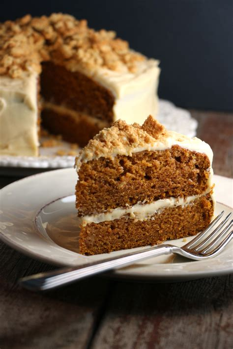spiced pumpkin cake  molasses cream cheese frosting