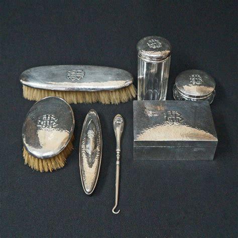 sterling silver vanity set seven 7 shreve co hammered sterling silver