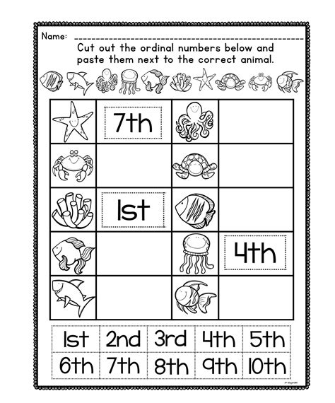 ordinal number posters and worksheets early education