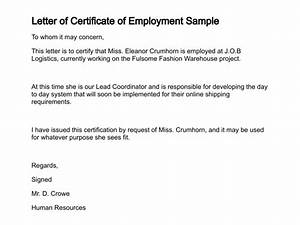 letter of certificate With certification of employment letter template