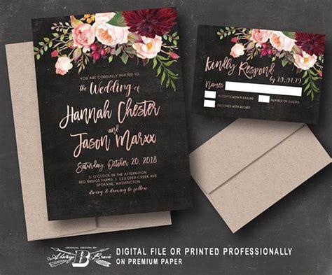 rustic wedding invitation rsvp maroon floral black