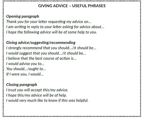 formal letters  emails giving  requesting advice