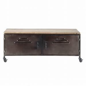 meuble tv indus a roulettes en metal et bois wayne With meuble industriel maison du monde