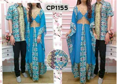baju gamis couple batik biru cp busana muslim