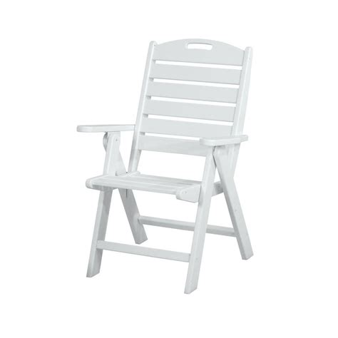 polywood nautical white highback patio chair nch38wh the