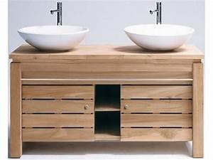 le meuble de salle de bains en teck archzinefr With meuble salle de bain double vasque en teck