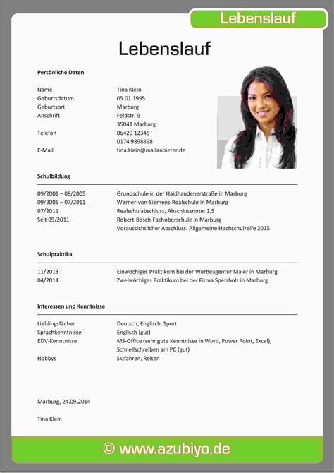 Lebenslauf Schreiben Schüler by 10 Sch 252 Ler Lebenslauf F 252 R Praktikum Emovoid