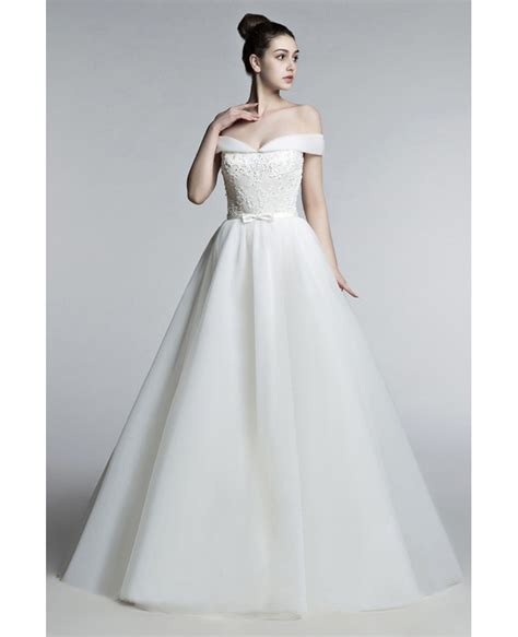 Off Shoulder Princess Wedding Dress Ball Gown With Lace