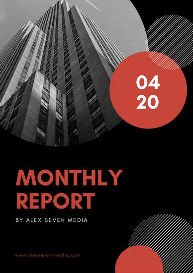 red black circles monthly report templates  canva