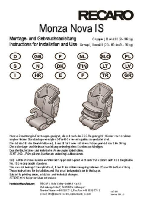 babideal siege auto notice mode d 39 emploi recaro monza is siège auto trouver