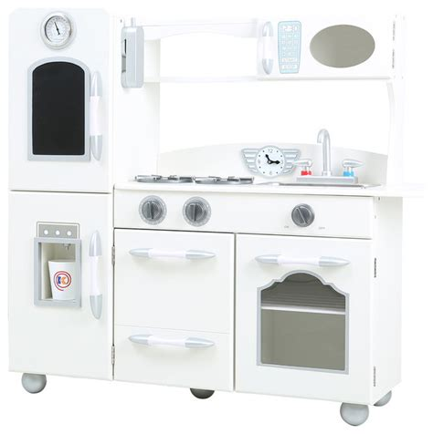 Kids Wooden Play Kitchen Set, White  Modern  Kids Toys