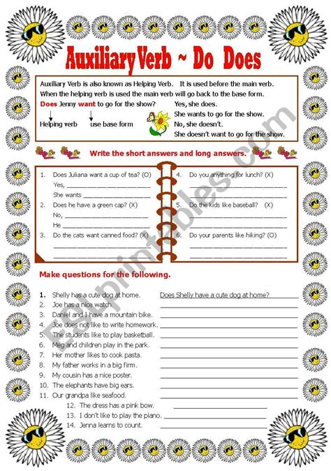 Auxiliary Verb  Do Doesdid  Esl Worksheet By Shusueuphe
