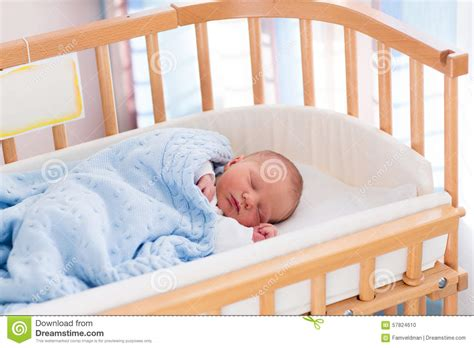 Newborn Baby Boy In Hospital Cot Stock Photo Image Of