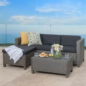 Lorita outdoor 5 piece grey wicker sectional sofa set with for 5 piece grey sectional sofa
