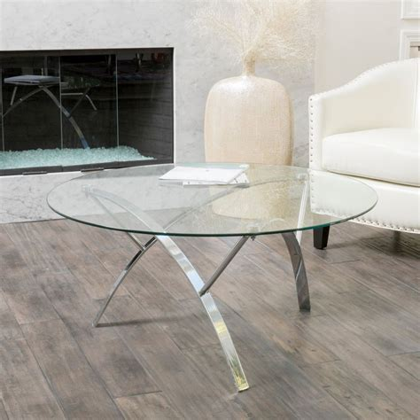 Living Room Modern Design Tempered Glass Round Coffee