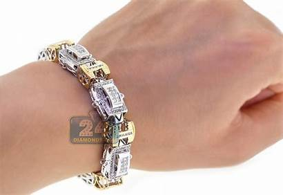Bracelet Gold Tone Mens Diamond Link 14k