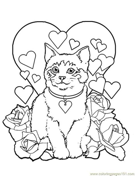 coloring pages valentine kitty cat animals cats
