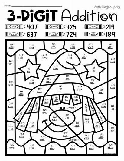 Worksheets Coloring Addition Digit Triple Worksheet
