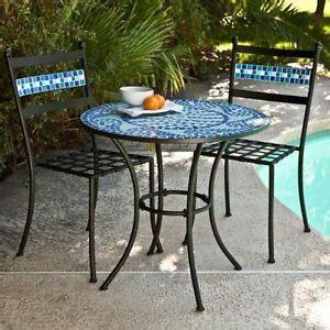 tile table chair bistro set marina iron mosaic blue