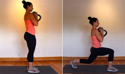 lunge goblet kettlebell reverse squat grasas quema entrenamiento pesas cuerpo completo leg single fat workouts