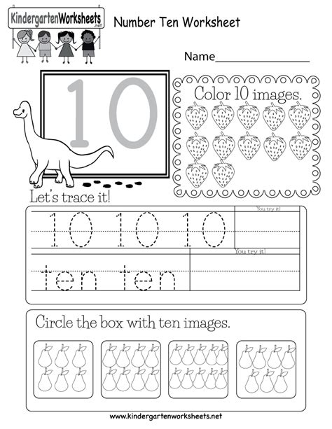 worksheets ten number ten worksheet free kindergarten math worksheet