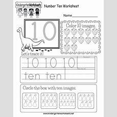 Number Ten Worksheet  Free Kindergarten Math Worksheet For Kids