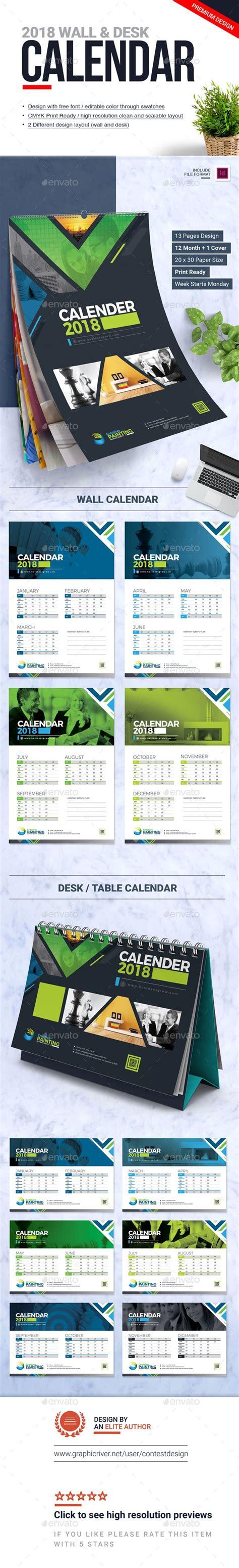 calendar design template indesign indd wall